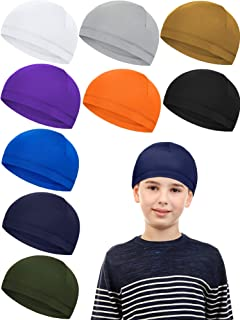 Syhood 9 Pieces Kids Helmet Liner Milk Silk Skull Caps Sweat Wicking Running Cycling Hat Child Beanie Hat (Bright Colors)