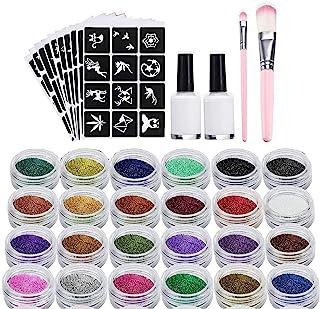 XUBX Glittertattooset, Glitter tattoo set, Tijdelijke tatoeages Kit met 24 glittertubes en 120 sjablonen, 2 borstels, 2 li...