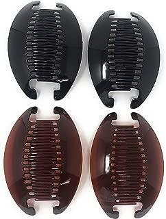 4 set Banana Jumbo Comb Clip Thick Hair Riser Claw Interlocking Jaw Extra(Black-Brown).