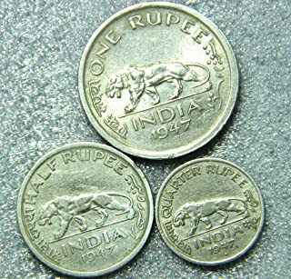 Historical India - Old India Copper Nickel Tiger Rupee Coins Collection - 3 Coins