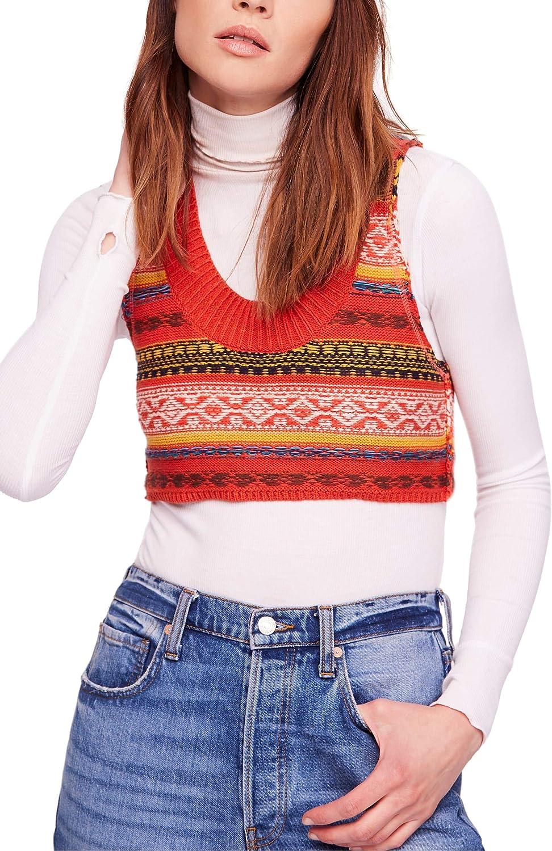 Free shipping Free People Women's Fields of Long Beach Mall Sweater Vest Cropped Fair-Isle