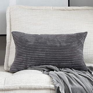 Best Home Brilliant Decorative Plush Striped Velvet Corduroy Oblong Pillowcase Accent Cushion Cover, 12 x 20 inch (30x50 cm), Dark Grey Review