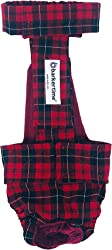Barkertime Dog Diaper Overall - Made in USA - Red Plaid Escape-Proof Washable Dog Diaper Overall for Dog Incontinence, Marking, Housetraining and Females in Heat