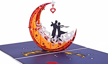 AITpop 3D Anniversary Card for Her - A Couple Dances On the Moon Boat On the Lake - Anniversary Gifts for Men,Wife,Husband,Girlfriend or Boyfriend,Birthday Card,Romantic Card,Valentines Day Card