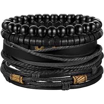 Jstyle 4Pcs Braided Leather Bracelet for Women Mens Cuff Bead Bracelet Set Adjustable Black And Brown