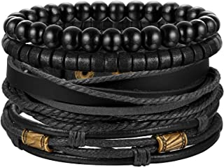 دستبند چرمی بافته شده Jstyle 4 عدد زنانه دستبند مردانه کاف دستبند قابل تنظیم سیاه و قهوه ای