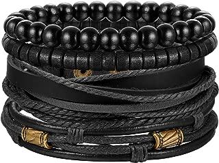 4Pcs Braided Leather Bracelet for Women Mens Cuff Bead Bracelet Set Adjustable Black And Brown
