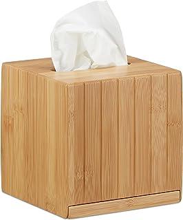 Relaxdays Caja para pañuelos Cuadrada, Bambú, Beige, 14 x 14 x 14 cm
