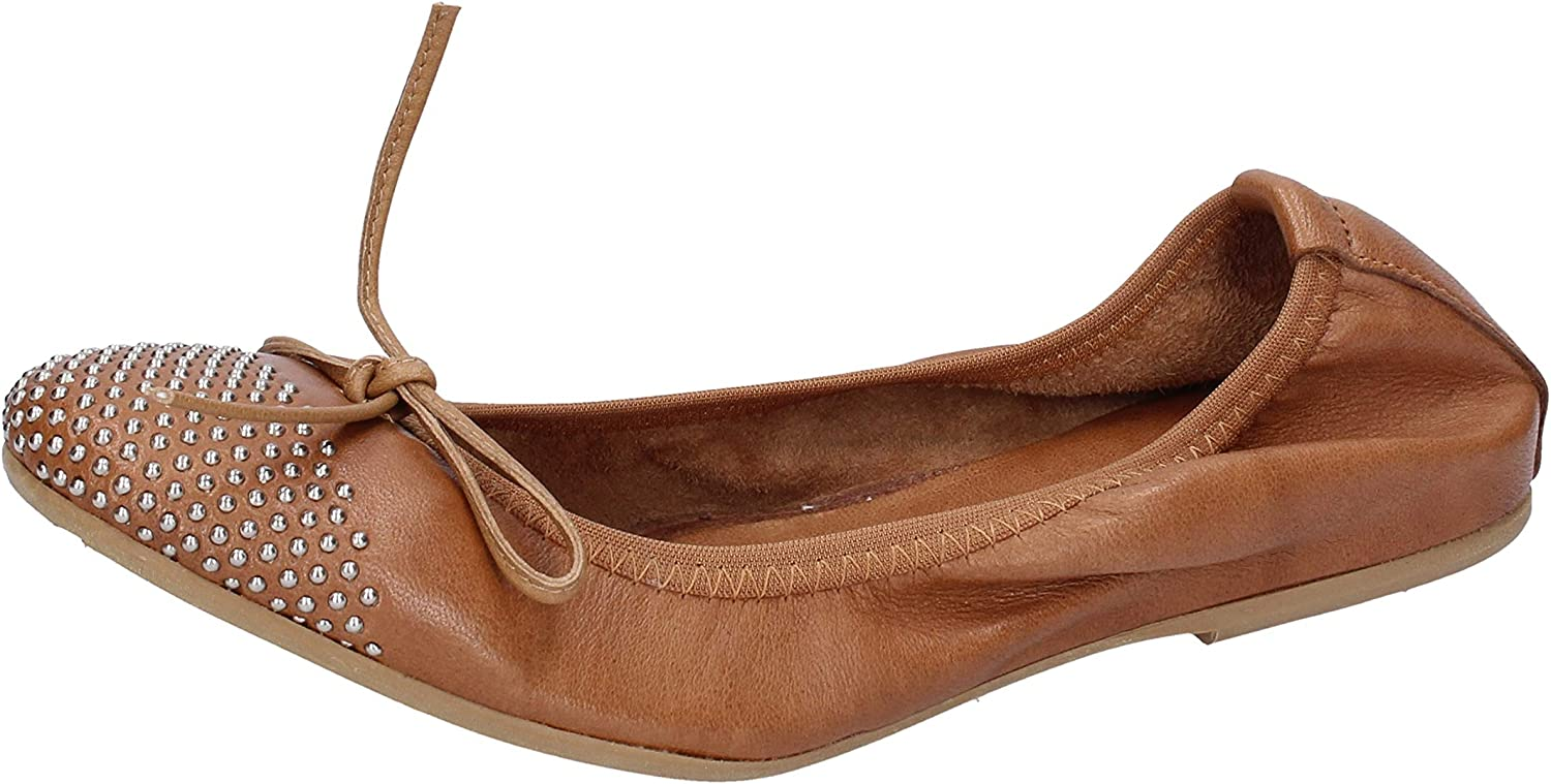 CROWN Flats-shoes Womens Leather Brown