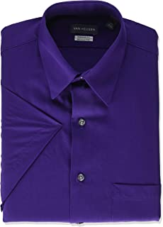 "Van Heusen Men's Dress Shirts Short Sleeve Poplin Solid, Purple Velvet, 16"" Neck"