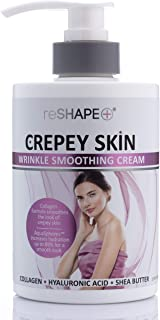 Crepey Skin Treatment Cream Wrinkle Smoothing cream w/Collagen, Hyaluronic Acid. Hydrating Cream Improves Elasticity, Plumps Sagging Skin. For Body, Neck, Hands, Face by Reshape (15 Fl Oz)