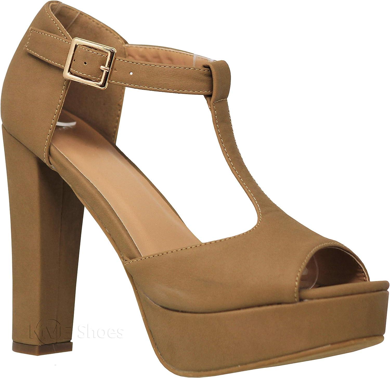 MVE shoes Womens Stylish Comfortable Open Toe Ankle Buckle Block Heeled Sandal