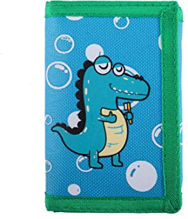 RFID Blocking Wallet for Kids/Slim Cartoon Wallet with Zippered Pocket/Trifold Canvas Outdoor Sports Wallet, Dinosaur