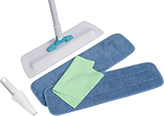 """Microfiber Pros Floor Mop With 2 of our Premier 18"""" Washable/Reusable Pads+ Microfiber Cleaning Cloth. Use Wet or Dry to Clean and Scrub Hardwood, Tile, Laminate, Vinyl and Stone Floors. Rotates 360°"""