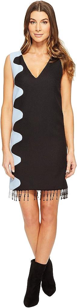 Crepe Midi Dress with Beaded Fringing