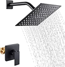 POPFLY Shower Only Faucet with Valve, Black Shower Faucet Set with High Pressure Single Function 8 Inchs Square Rainfall H...