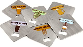 FuhlSpeed ACBC-006 Coaster Craft Stainless Steel Beverage Coasters with Built-In Bottle Openers (6 Pack)