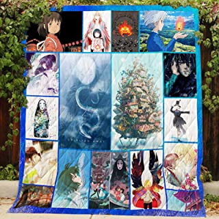 Spirited Away and Howl's Moving Castle Quilt P300, King All-Season Quilts Comforters with Reversible Cotton King/Queen/Twin Size - Best Decorative Quilts-Unique Quilted for Gifts