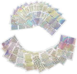 Jiulory 144 Pieces 72 Designs Nail Vinyls Nail Stencil Sticker Sheets Set for Nail Art Design, 24 Sheets