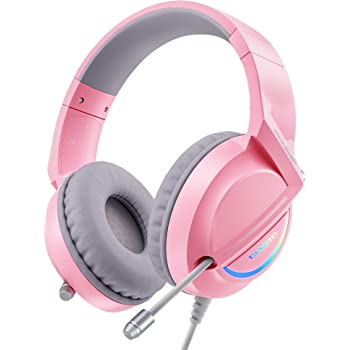 VANKYO Gaming Headset CM6000 for PC, PS4, PS5, Xbox One, Nintendo Switch, PS4 Headset with Crystal Noise Cancelling Microphone & LED Light, Gaming Headphones in 7.1 Stereo Surround Sound, Pink