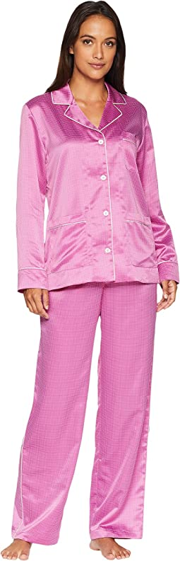 Satin Long Sleeve Notch Collar Pajama Set