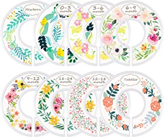 Mangotree Baby Wardrobe Clothes Size Dividers  Set Nursery Baby Closet Clothes Dividers  Baby Nursery Toddler Clothes Size Organizer Dividers Girl Flower Pattern