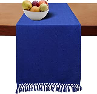 Cotton Clinic Table Runner Farmhouse 108 Inches Chevron Woven, 16x108 Cotton Wedding Table Runner Fringes, Rustic Bridal Shower Decor Dining Table Runner Navy Blue