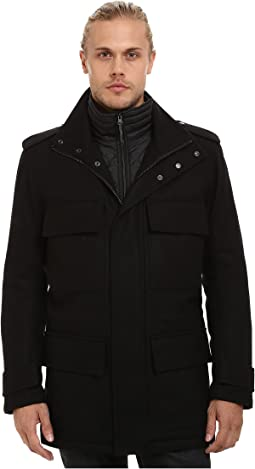 Liberty Pressed Wool Car Coat w/ Removable Quilted Bib