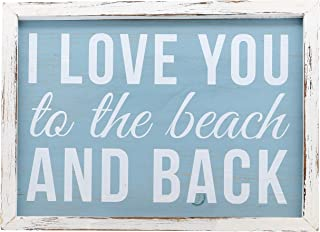 """Barnyard Designs I Love You to The Beach and Back Wooden Wall Sign Beach House Home Decor Sign 16"""" x 12"""""""
