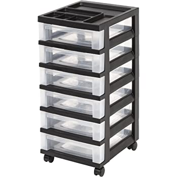 Iris 6-Drawer Cart with Organizer Top and Casters, Black