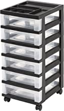 IRIS 6-Drawer Rolling Storage Cart with Organizer Top, Black