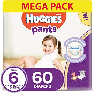Huggies Active Baby Pants - Size 6, 15-25 kg, 60 Diapers Pants