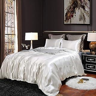 Erosebridal Hotel White Duvet Cover Twin/Single Silk Like Satin Bedding Set Summer Reversible Quilt Comforter Cover Honeym...