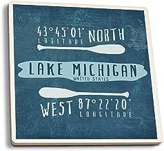 Lake Michigan, United States - Lake Essentials - Latitude and Longitude (Set of 4 Ceramic Coasters - Cork-Backed, Absorbent)