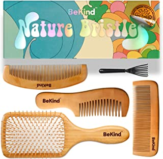 BeKind Nature Bristles (4 pcs) Natural Wood Hair Paddle Detangling Brush and Comb Kit Set with Wooden Bristles Massage Scalp Bamboo Comb Unisex Gift Idea for Men Women and Kids, Gift Bag Included.