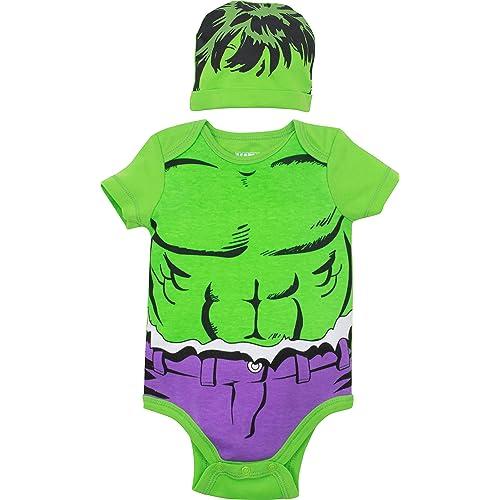 618b3b11995 Marvel Avengers Baby Boys  Bodysuit   Hat  Hulk Spiderman Thor Captain  America