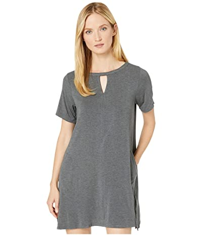 Donna Karan Modal Spandex Jersey Short Sleeve Sleepshirt (Charcoal Heather) Women