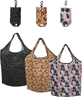Keyuhan Reusable Grocery Bags,Foldable with Pouch,Cute Stylish Shopping Bags,Ripstop Fabric Shopping Tote Bags,Washable,Durable and Lightweight.