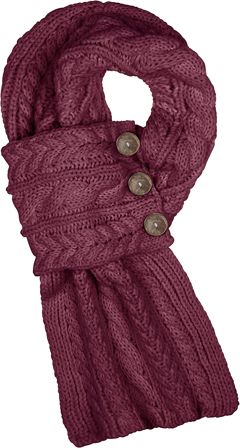 Aran Traditions Raspberry Red Cable Wrap Button Scarf