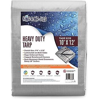 Super Heavy Duty Tarp UV Resistant 16 Mil Brown Poly Tarp Cover Tarpaulin w//Rustproof Grommets /& Reinforced Edges Cut Size: 12/' x 16/', Finished Size: 116 x 156 Rot//Rip//Tear Proof
