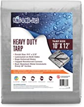 10x12 Heavy Duty Tarp, Waterproof Plastic Poly 10 Mil Thick Tarpaulin with Metal Grommets Every 18 Inches - for Roof, Camp...