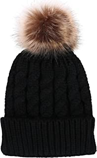 Women's Winter Soft Knitted Beanie Hat with Faux Fur Pom Pom