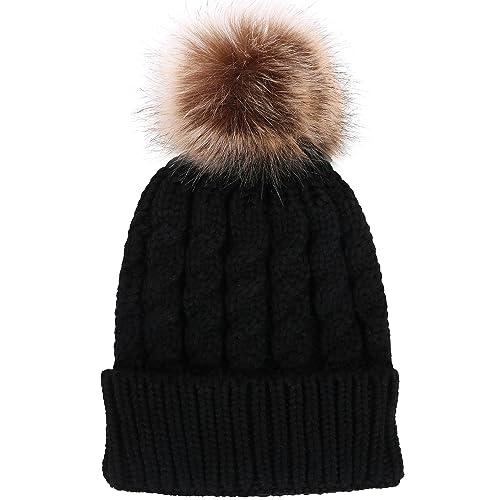 7ffe34a0f52 Toppers Women Winter Warm Knitted Faux Fur Pom Pom Beanie Hat