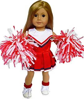 RED WHITE AND BLUE CHEERLEADER OUTFIT COMPATIBLE WITH 18 INCH AMERICAN GIRL DOLLS