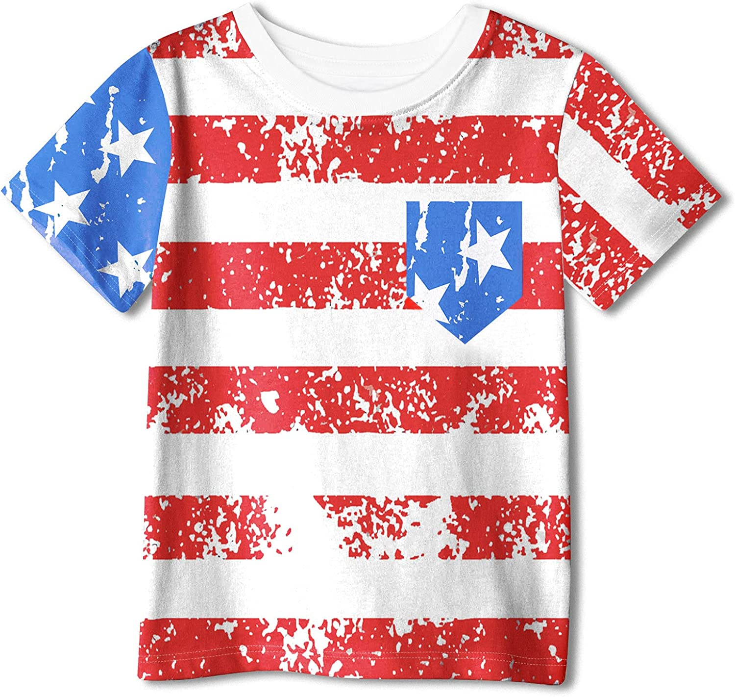 BesserBay Boys and Girls 4th of July American Flag Tee National Holidays Patriotic Cotton Tshirt 3-12 Years