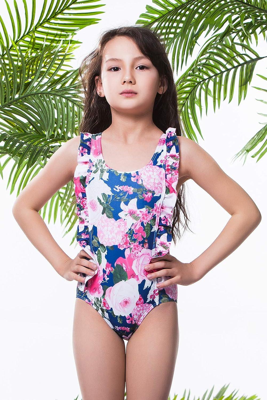 ALISISTER Toddler Little Girl Swimsuit Ruffle Bathing Suit One Piece Beach Swimwear
