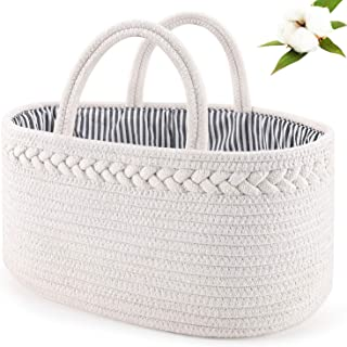 Baby Diaper Caddy Organizer: ABenkle Handmade Cotton Rope Nursery Storage Bin for Boys/Girls, Portable Diaper Storage Basket for Changing Table/Car - Ideal for Baby Shower, Christmas (White)…
