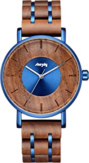 Wooden Watch Chronograph Watches Stylish Wood and Stainless Steel Combined Quartz Casual Wristwatches