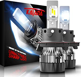 KATANA H13 LED Headlight Bulbs w/Mini Design,4700Lux 10000LM 6500K Cool White CREE Chips 9008 All-in-One Conversion Kit
