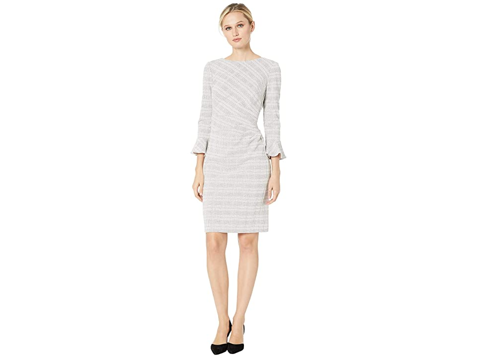 LAUREN Ralph Lauren 167F Retro Knit Plaid Daria 3/4 Sleeve Day Dress (Cream/Pink/Multi) Women